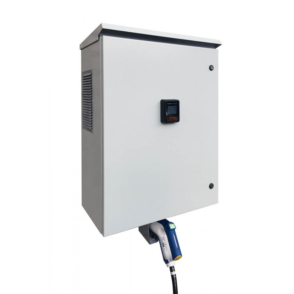 Charging station of Chademo standard (wall-mounted) with POS payment terminal